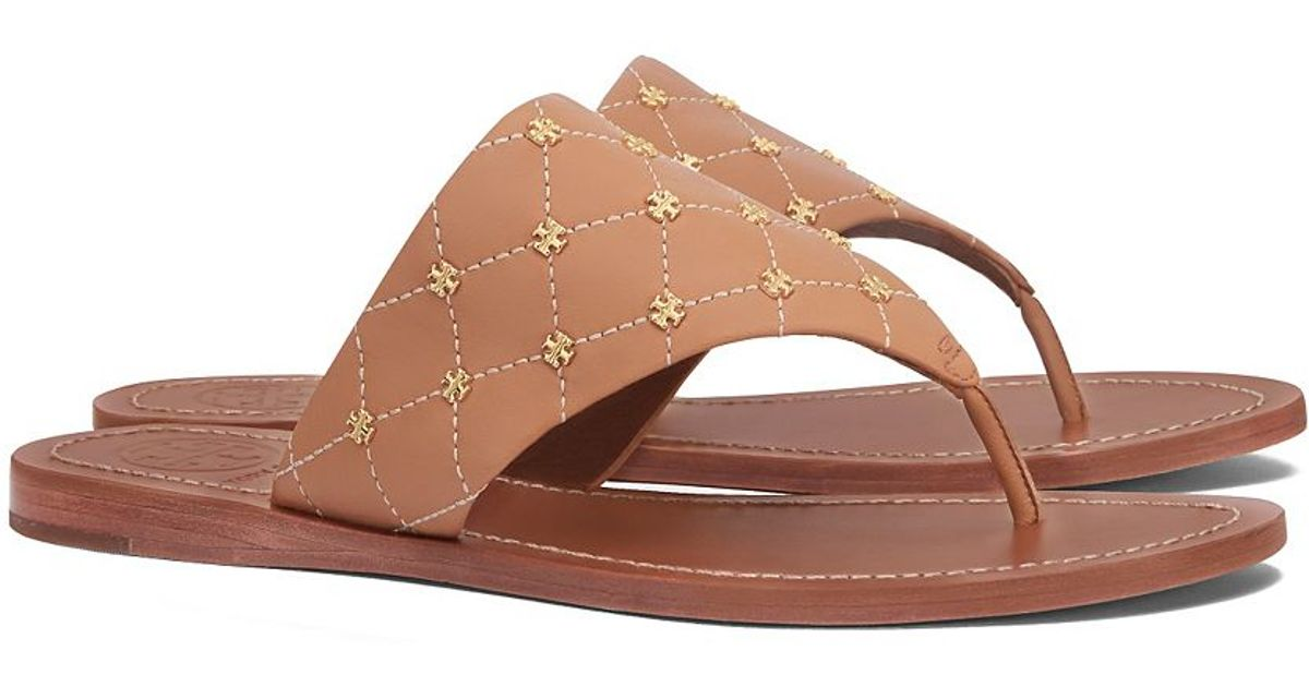 04d5ef078523 Lyst - Tory Burch Quilt-stitch Studded Thong Sandal in Brown