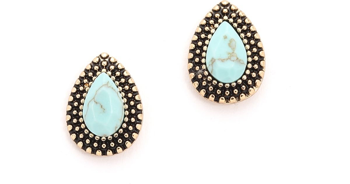 Lyst Samantha Wills Endless Love Stud Earrings Antique Gold Blue In