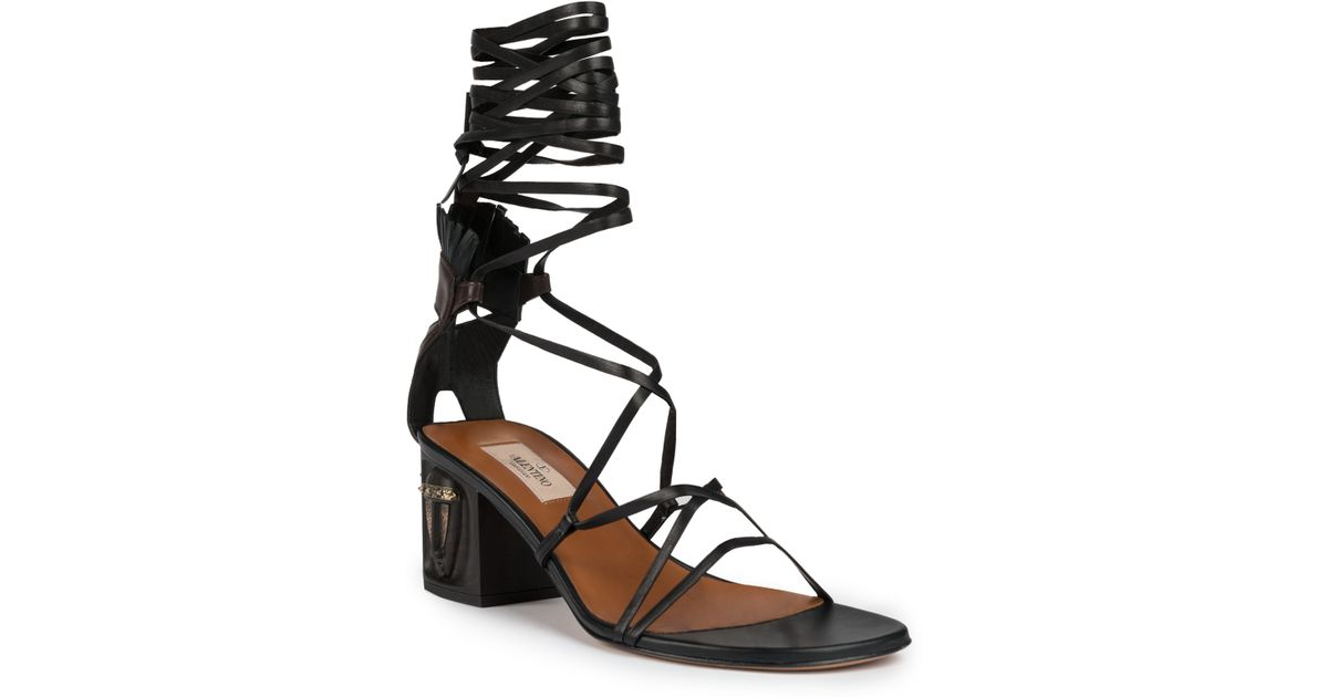 b3432c1b60a Lyst - Valentino Tribe Gladiator Mask Lace-up Sandals in Black