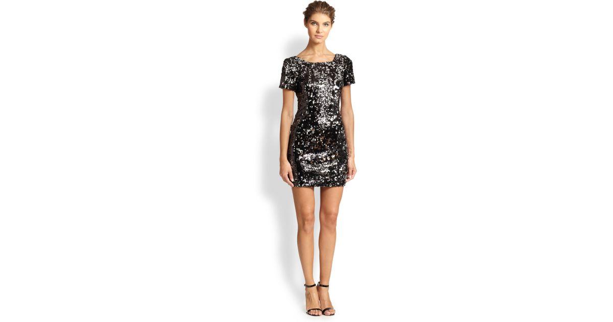 4fe868f1 MILLY Short-Sleeve Sequin Dress in Black - Lyst