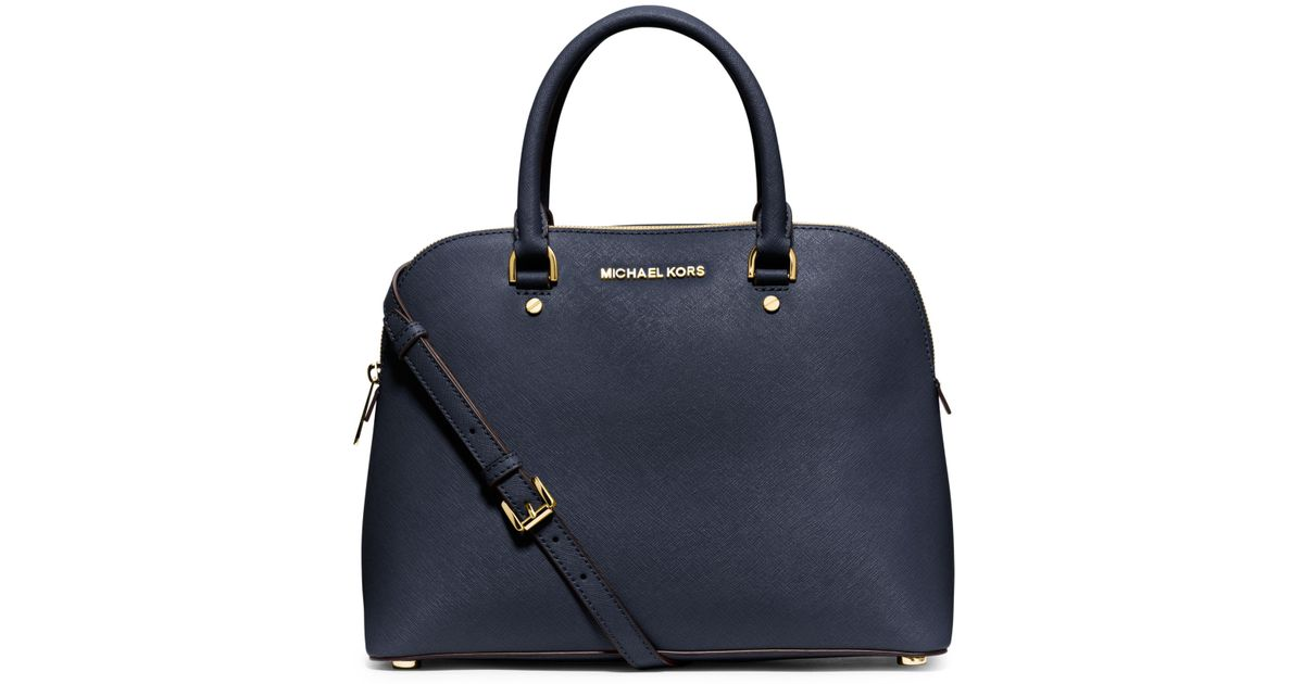 Michael Kors Cindy Laukku : Michael kors cindy large saffiano leather satchel in blue