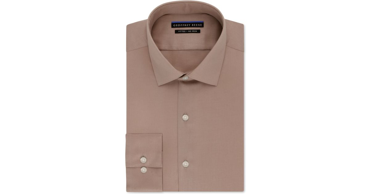 ab06baa585b Lyst - Geoffrey Beene Non-iron Fitted Stretch Sateen Solid Dress Shirt in  Brown for Men