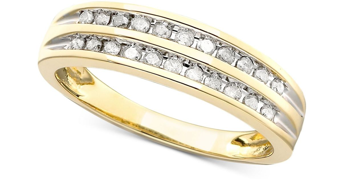 Macy s Channel set Diamond Band Ring In 10k Yellow White Gold 1 5 Ct