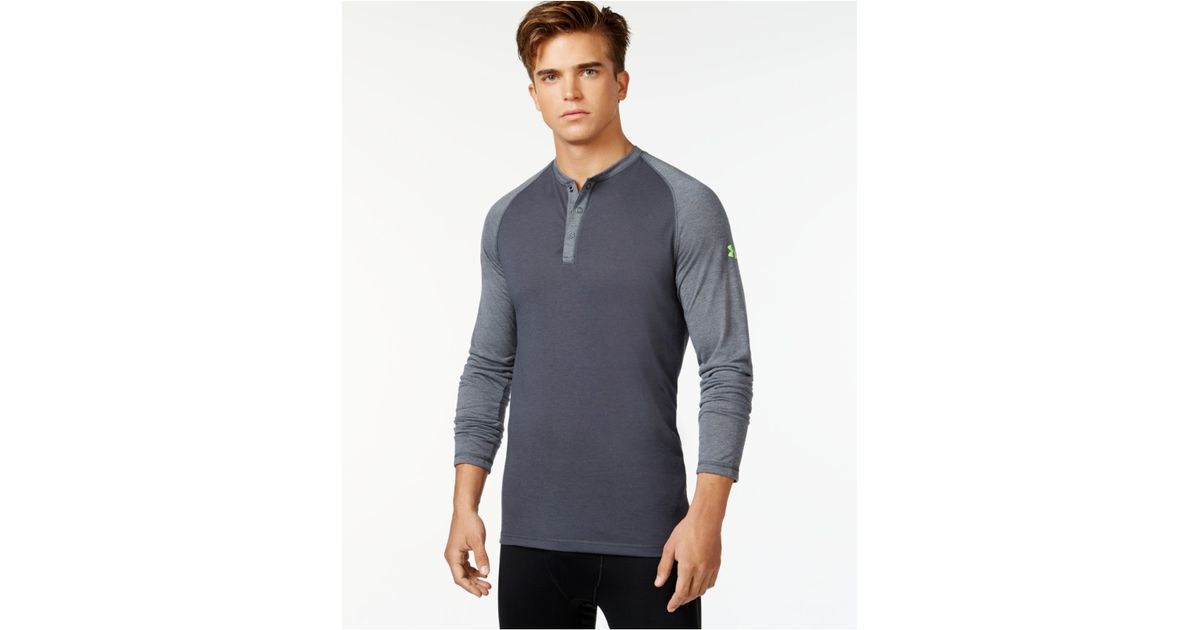 Lyst under armour long sleeve henley shirt in gray for men for Black long sleeve henley shirt
