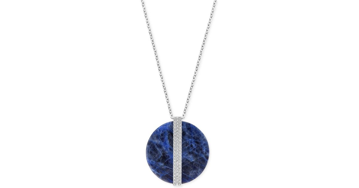 Lyst swarovski large crystal opaque disk pendant necklace in blue aloadofball Images