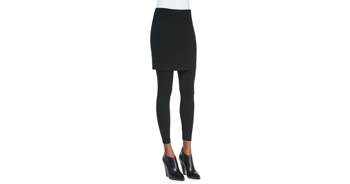 03dd46c0abd06 Lyst - Eileen Fisher Skirted Ankle Leggings in Black