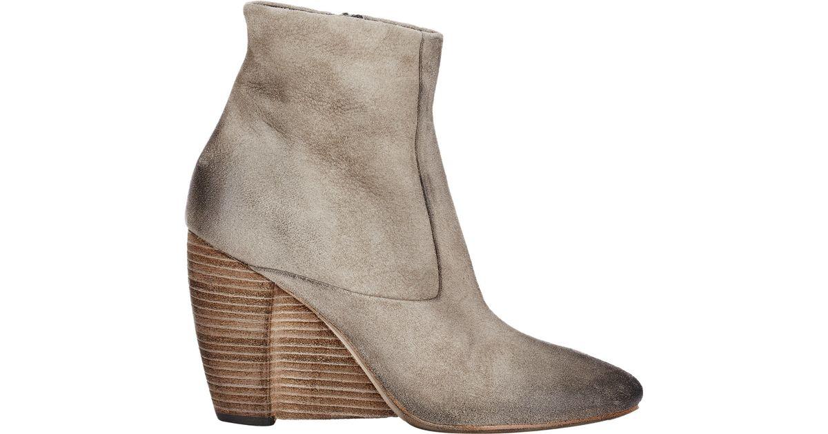 mars 232 ll s suede wedge heel boots in lyst