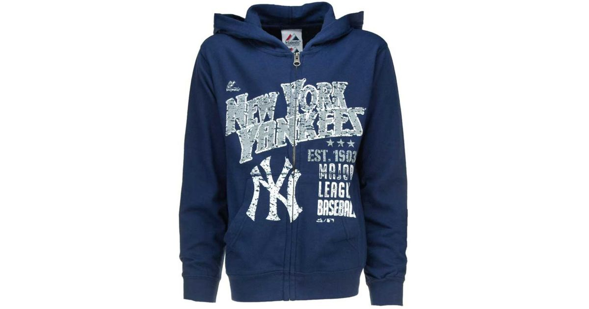 free shipping 9702c e1505 Majestic - Blue Boys' New York Yankees Pop Fly Full-zip Hoodie for Men -  Lyst
