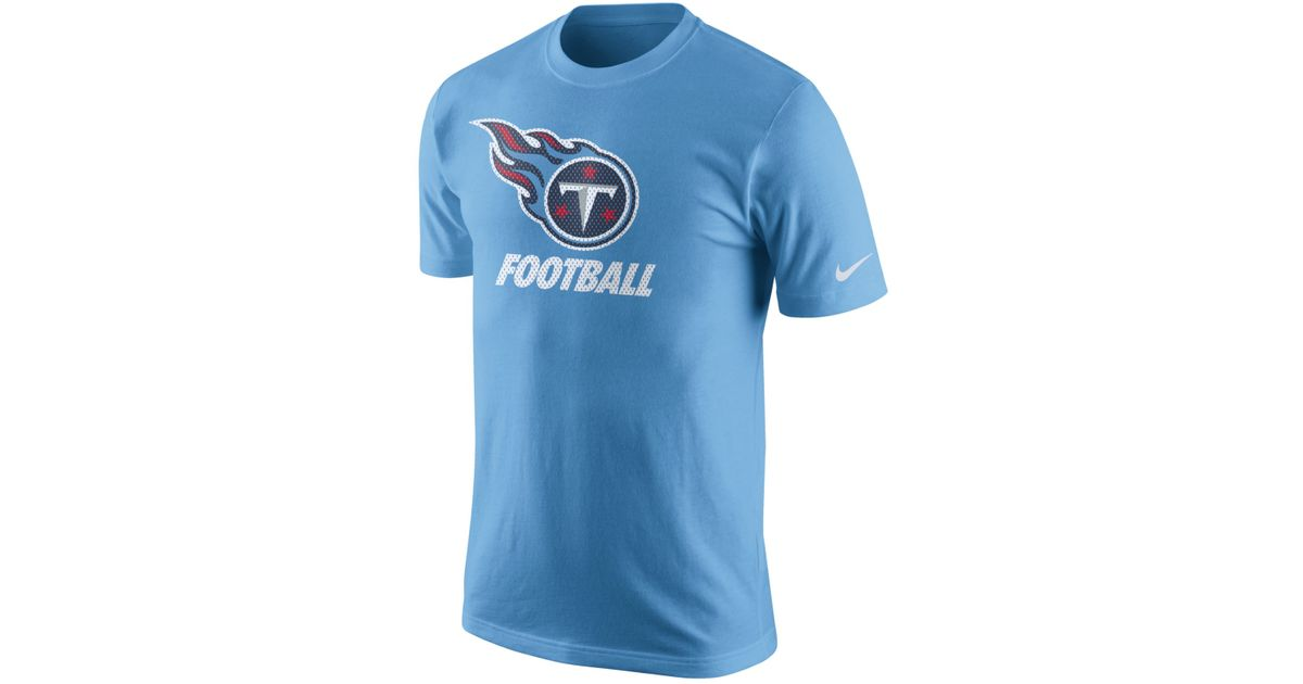 ... nike mens tennessee titans facility t shirt in blue for men lyst Mens  Tennessee Titans Nike CharcoalNavy Sideline ... 42ccc3c75