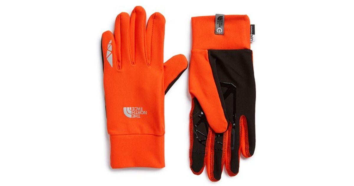 lyst the north face runners etip gloves in orange for men
