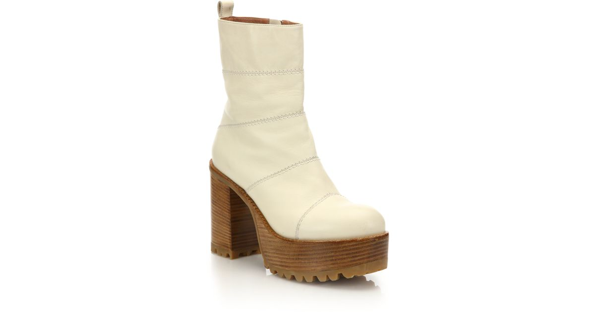 676d0c1fd970 Lyst - Marni Layered Leather Platform Boots in White