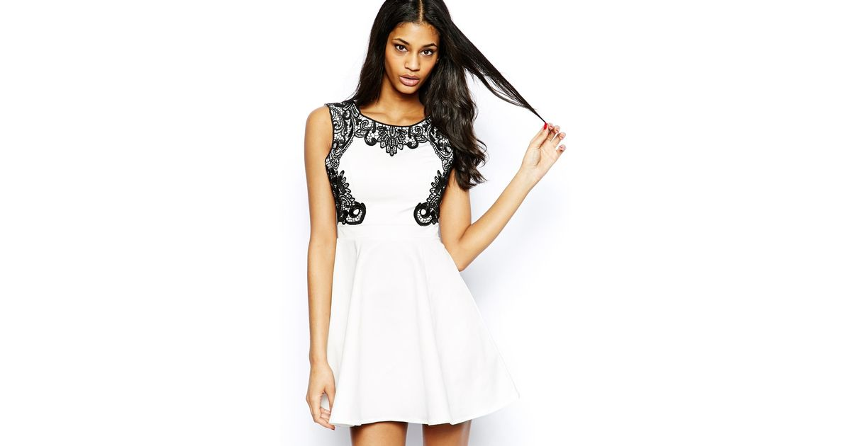 a625e2b00b Lyst - Lipsy Skater Dress With Lace Trim in White