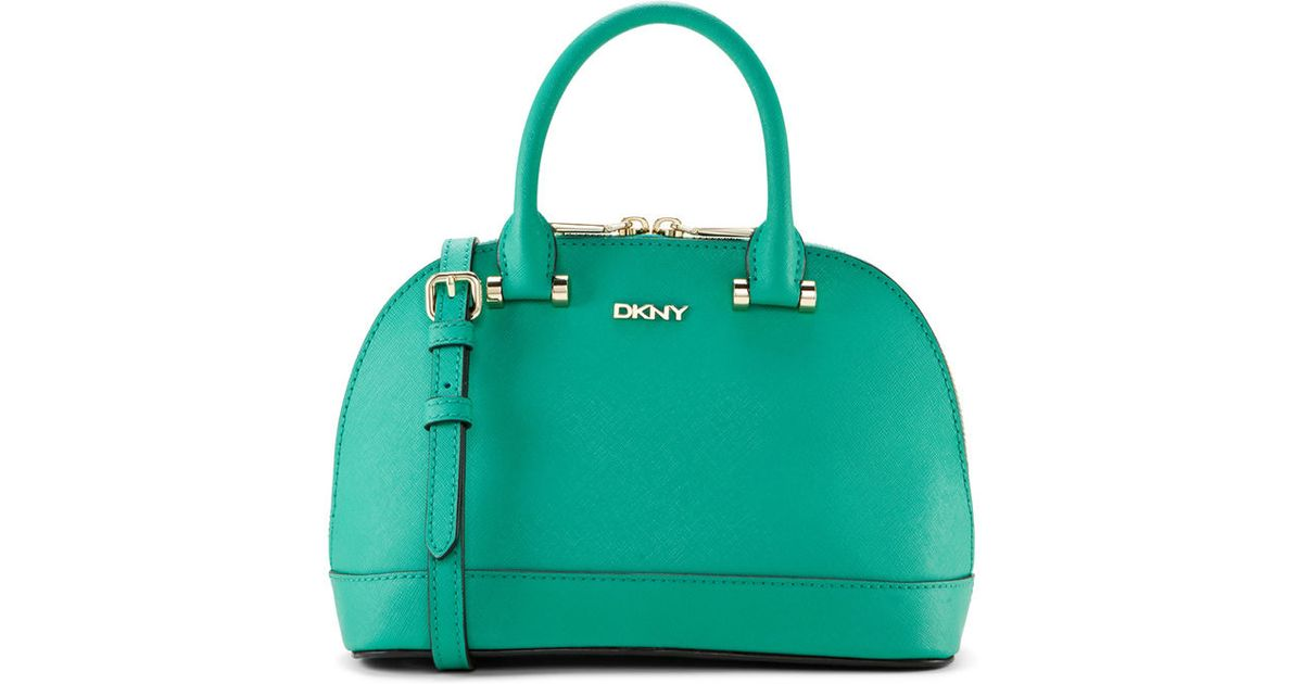 Dkny Saffiano Leather Mini Top Handle Bag in Green | Lyst