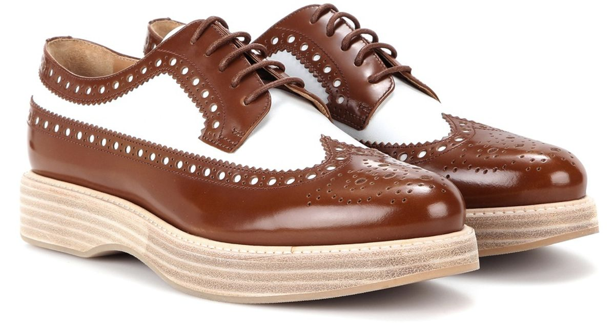 8ce6f4168a8 Lyst - Church s Opal Leather Platform Brogues in Brown