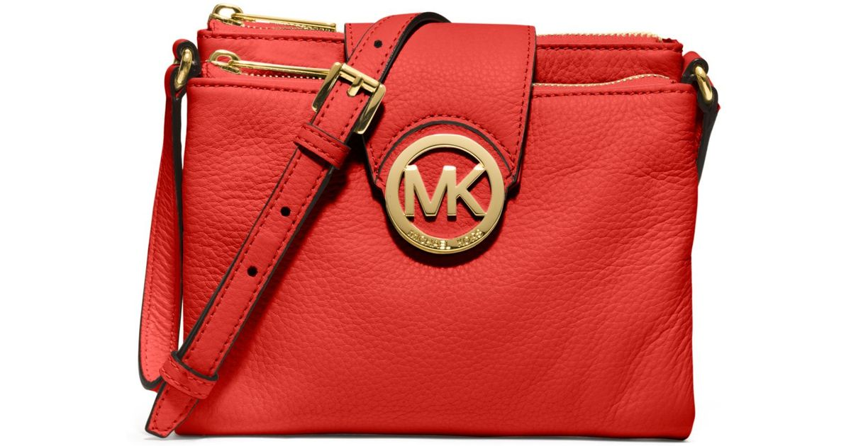 6f30e25fd6b707 Michael Kors Fulton Small Pebbled Leather Crossbody Bag in Red - Lyst