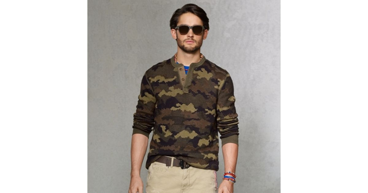 3f8e9a2ac ... cheapest lyst polo ralph lauren camouflage henley sweater in natural  for men 5c653 60978