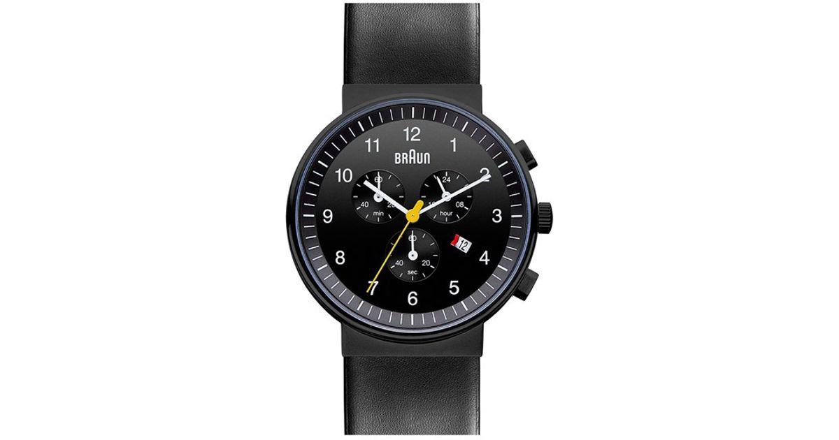 72236bcb5b3af Lyst - Braun  classic  Chronograph Leather Strap Watch in Black for Men