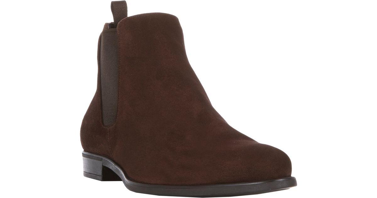 29039daf73238 Prada Suede Chelsea Boots in Brown for Men - Lyst