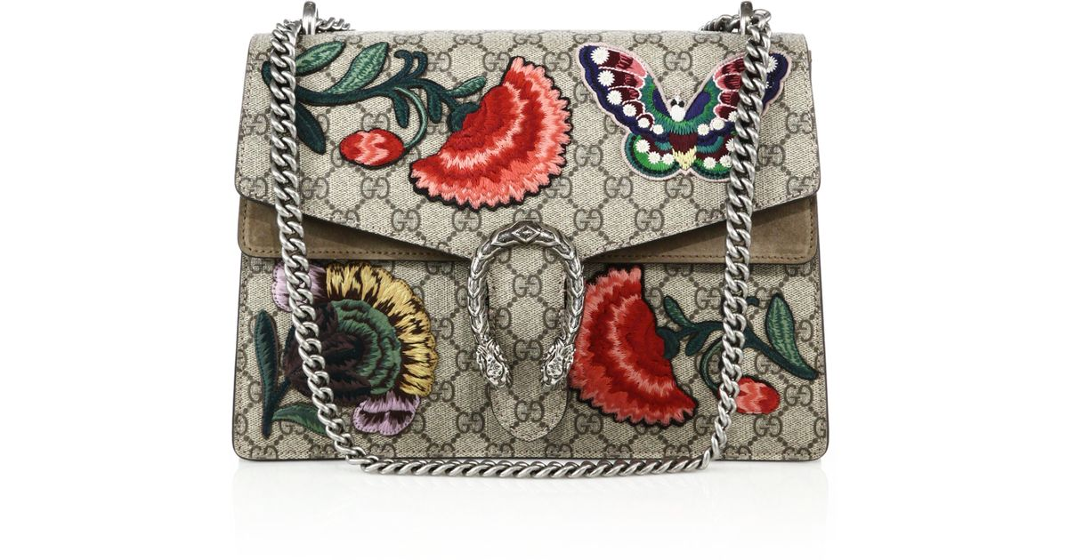 0f45fd9b8d87 Lyst - Gucci Dionysus Embroidered Gg Canvas Shoulder Bag