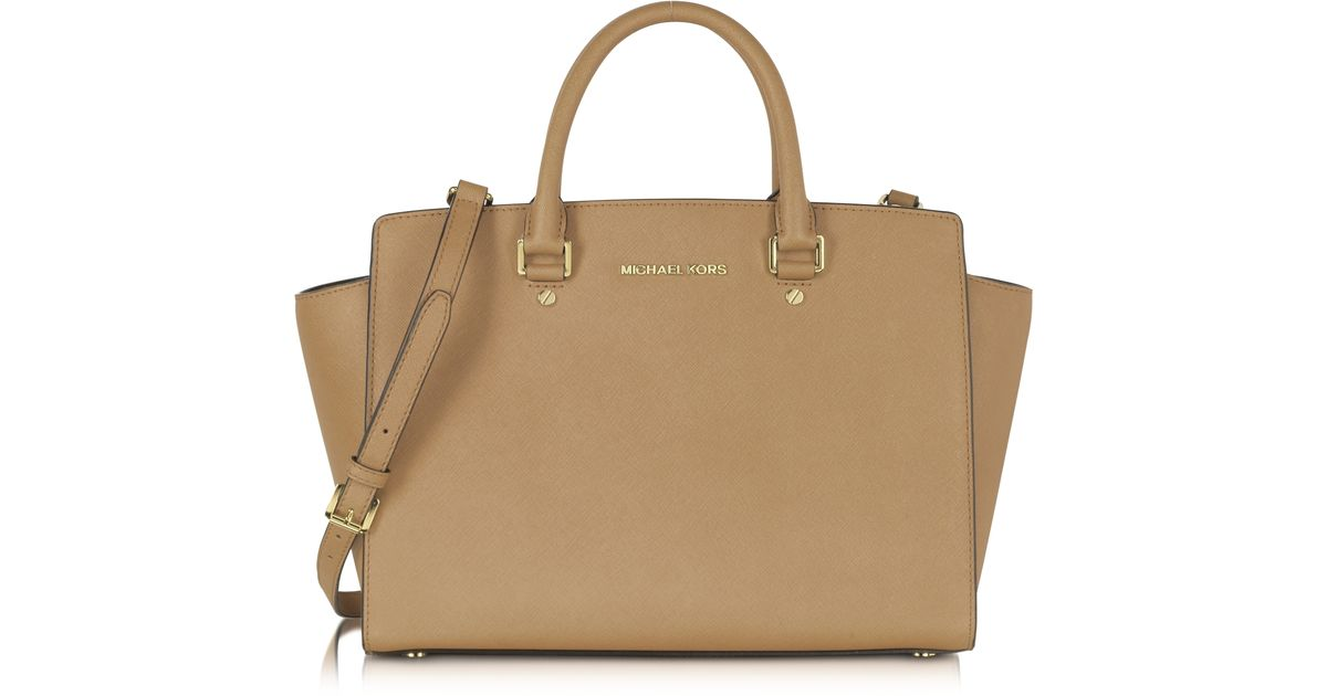 f610f2e755b3 Michael Kors Selma Dark Khaki Saffiano Leather Large Satchel Bag in Natural  - Lyst