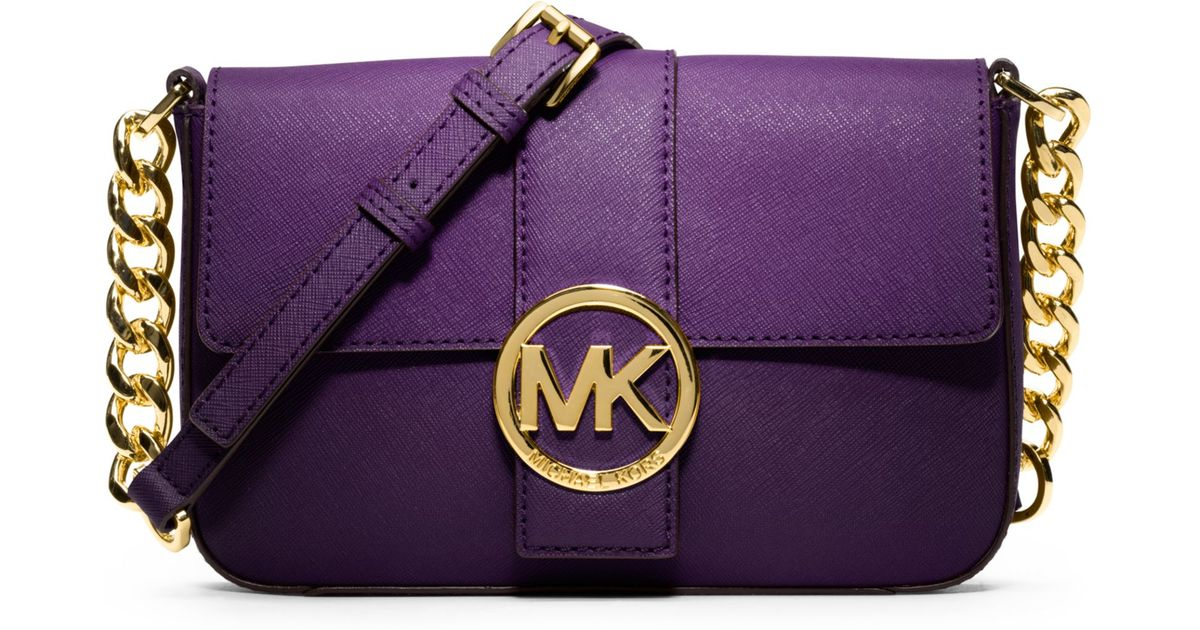 7cfe8fb31ee1 Lyst - Michael Kors Fulton Small Messenger Bag in Purple