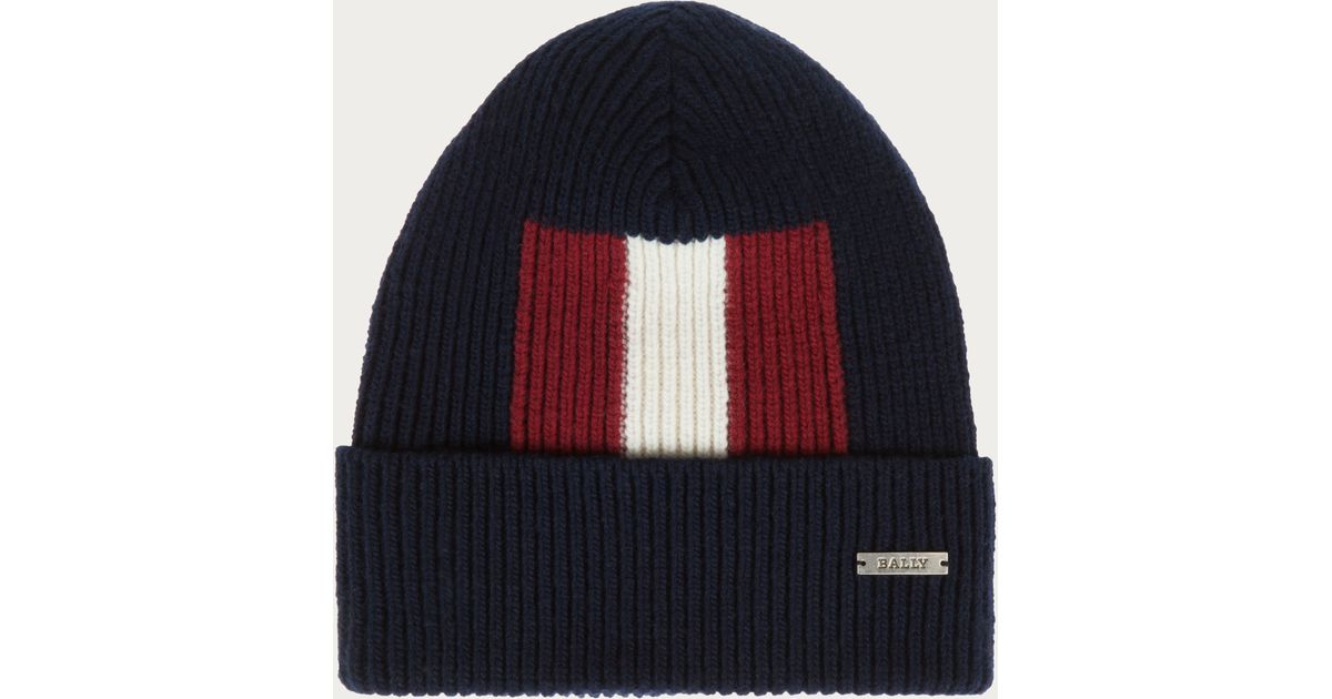 Bally Stripe Beanie Hat Blue, Mens wool beanie hat in blue navy Bally