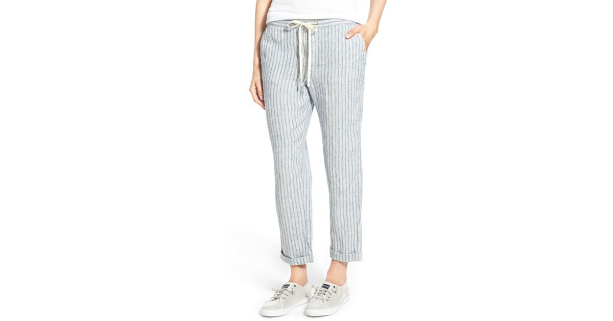 Caslon Linen Tie Front Crop Pants In Blue Lyst
