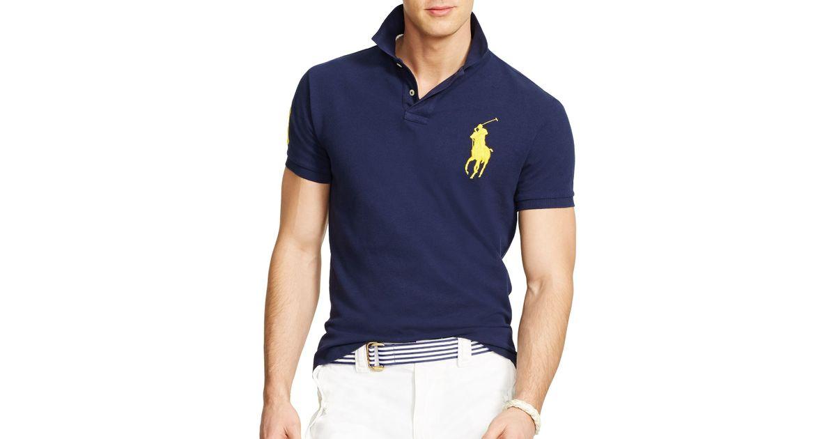 Lyst - Ralph Lauren Polo Custom Fit Big Pony Mesh Polo Shirt - Slim Fit in  Blue for Men