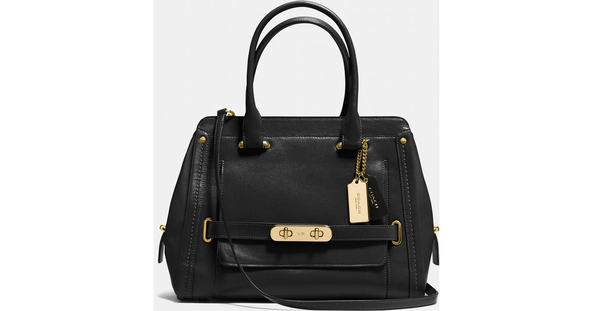 Coach Swagger Frame Satchel In Calf Leather in Black | Lyst