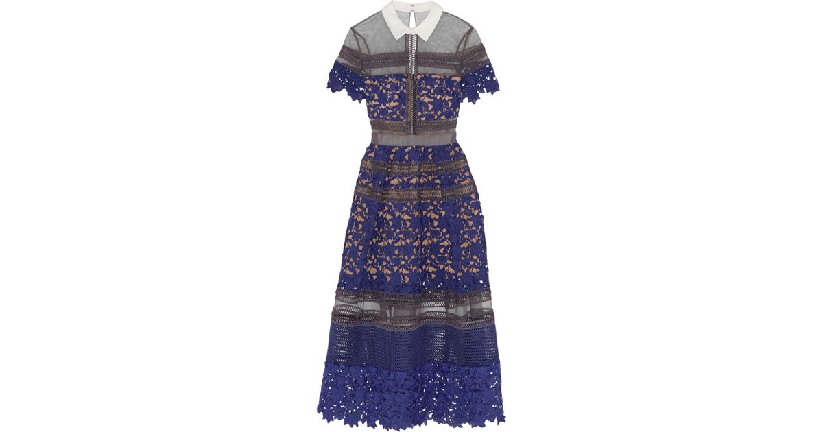 4f4a643b86503 Self-Portrait Liliana Paneled Floral-Lace And Mesh Dress in Purple - Lyst