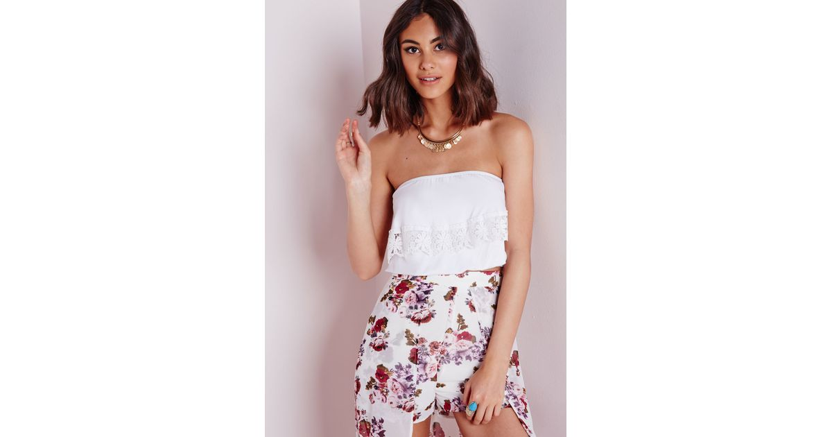 e51af370b7ea6 Lyst - Missguided Crochet Trim Bardot Crop Top White in White