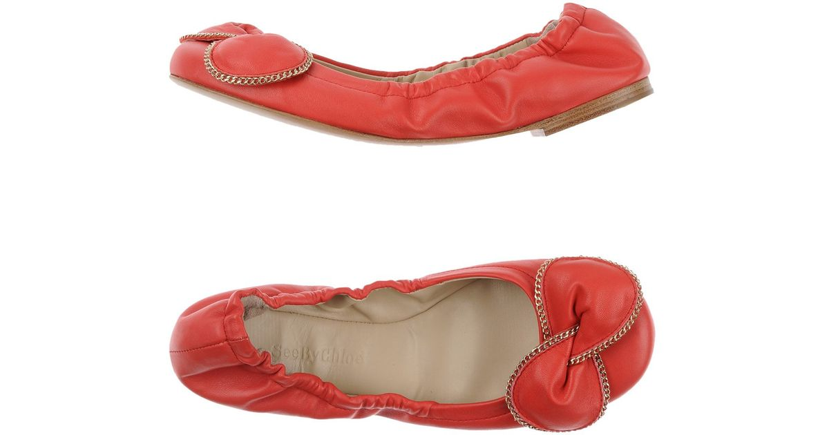 lyst see by chlo ballet flats in red. Black Bedroom Furniture Sets. Home Design Ideas