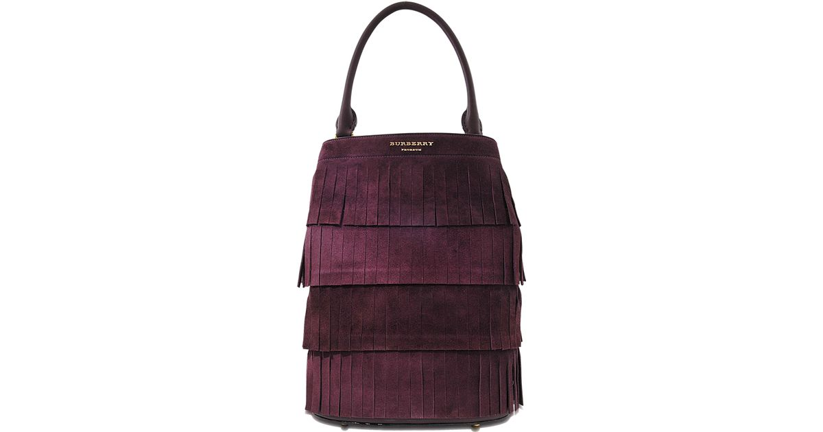 Lyst - Burberry Prorsum Suede Bucket Bag With Fringe in Purple b41f3e0e4fe25