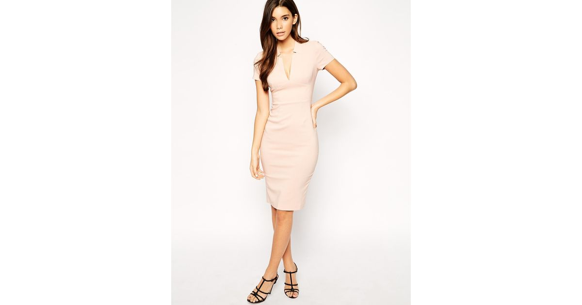 576ee74be0df ASOS Exclusive Sexy Midi Pencil Dress With Deep V Neck in Natural - Lyst