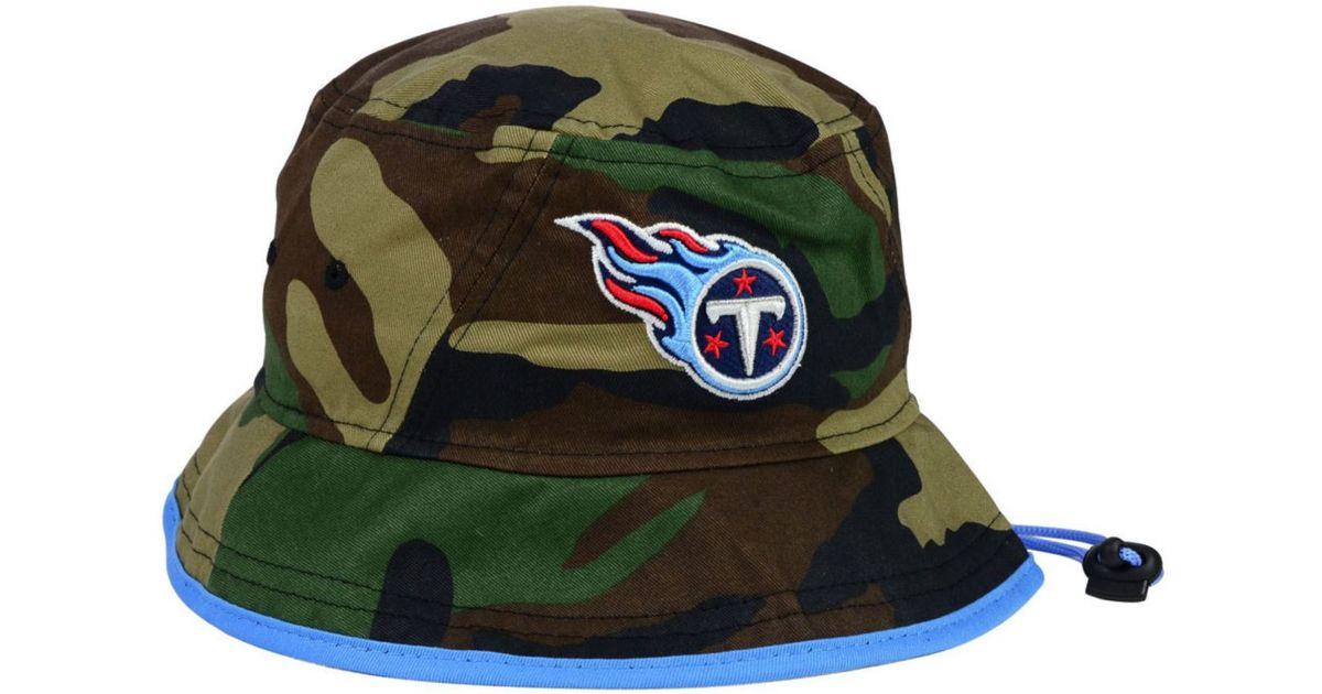 32c02c1bc08 Lyst - KTZ Tennessee Titans Camo Pop Bucket Hat in Green for Men