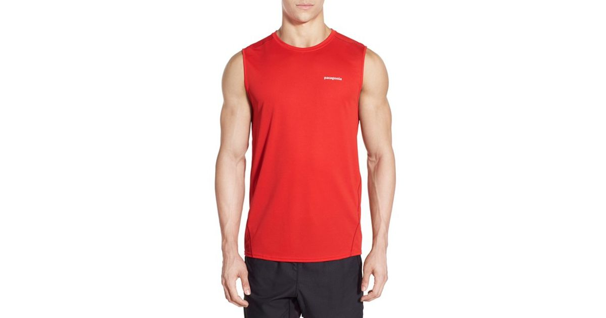 be59c77c576600 Lyst - Patagonia  fore Runner  Slim Fit Sleeveless T-shirt in Red for Men