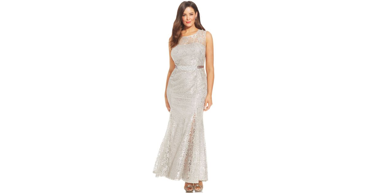 Lyst Betsy Adam Plus Size Metallic Lace Pleated Gown In Metallic