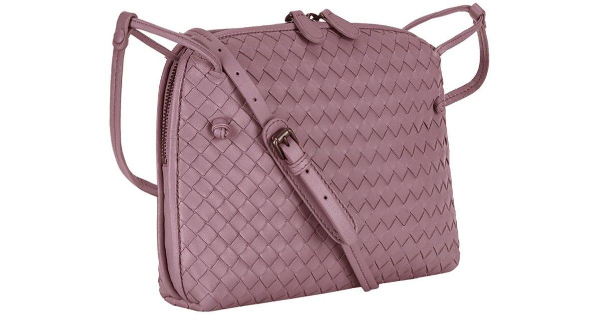 7f31423a66 Bottega Veneta Small Intrecciato Nappa Crossbody Bag in Purple - Lyst