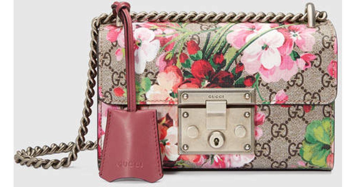 3bf5abcabe79 Gucci - Multicolor Padlock Blooms Shoulder Bag - Lyst