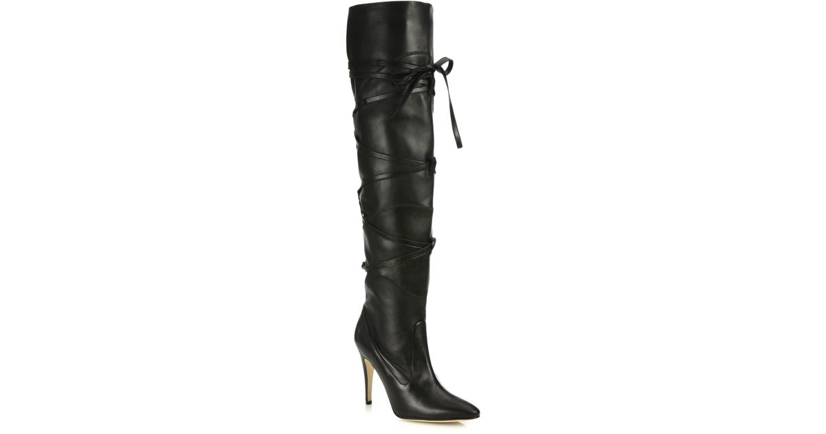 cheapest price cheap online Manolo Blahnik Peep-Toe Knee-High Boots free shipping ebay ChZZzmxB