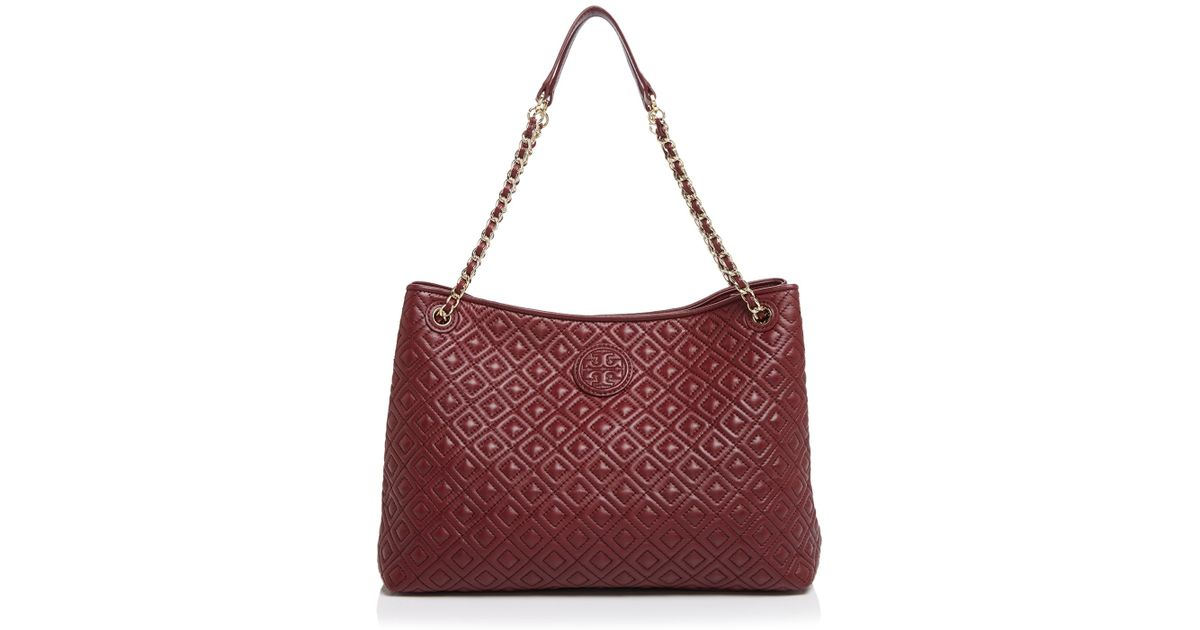 6bcab401d5b Lyst - Tory Burch Tote - Marion Chain Slouchy in Red