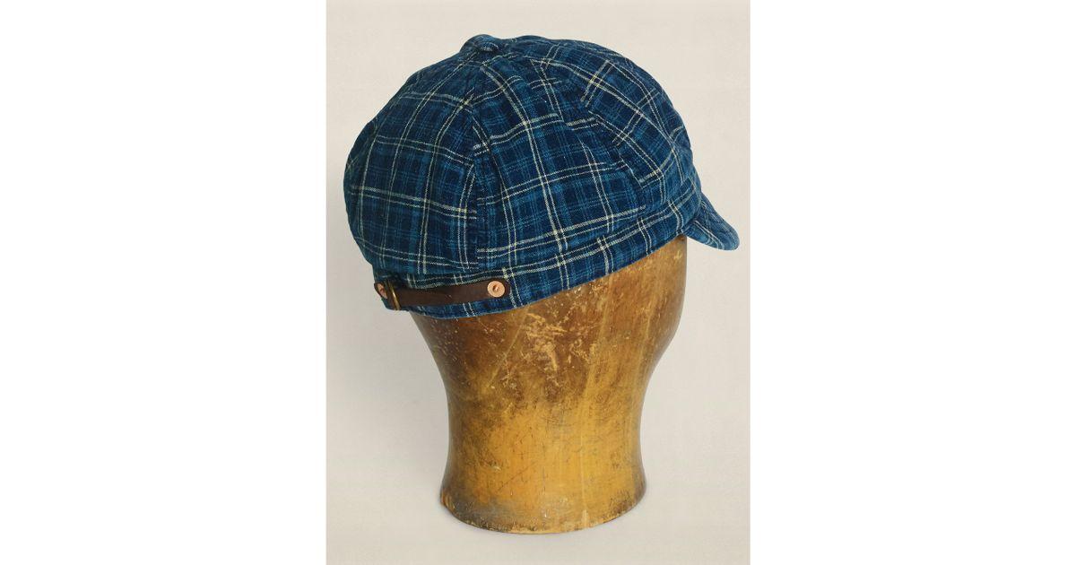 54df283700c Lyst - RRL Plaid Linen-cotton Grady Cap in Blue for Men