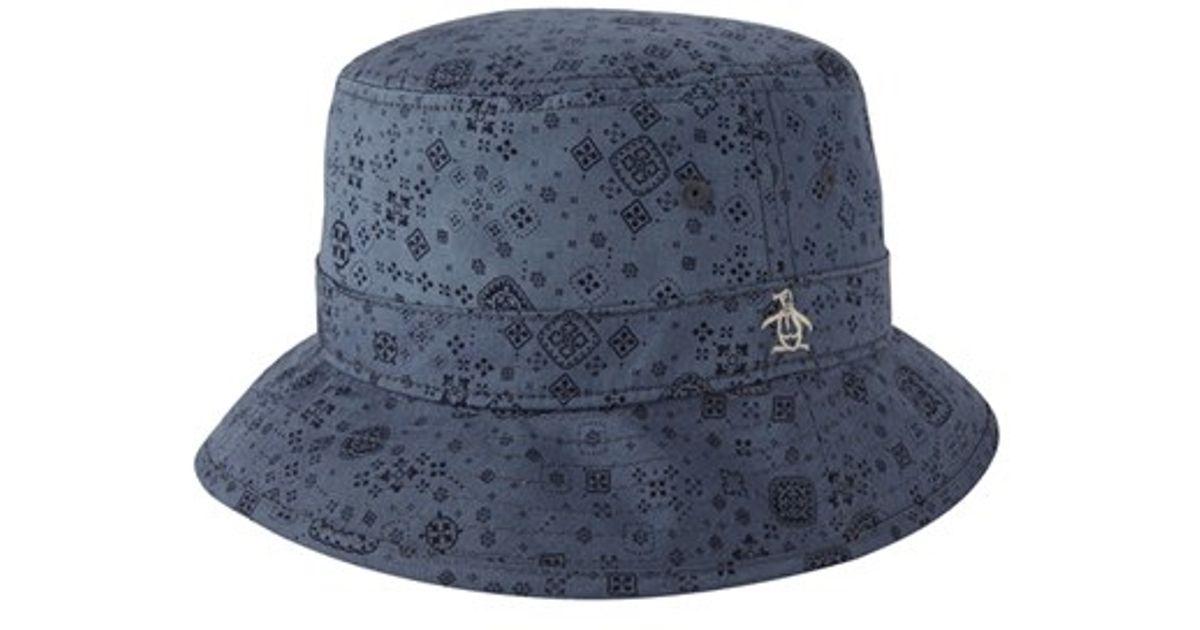 0aad97a2b821b Lyst - Original Penguin  bandana Print  Bucket Hat in Blue for Men