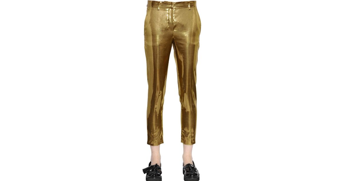 detailing fcd24 c9642 msgm-gold-laminated-cigarette-trousers-product-1-20582512-0-743403573-normal.jpeg