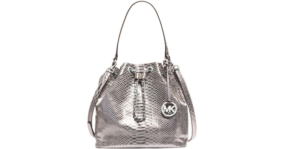 Lyst Michael Kors Frankie Metallic Embossed Leather Large Shoulder Bag In