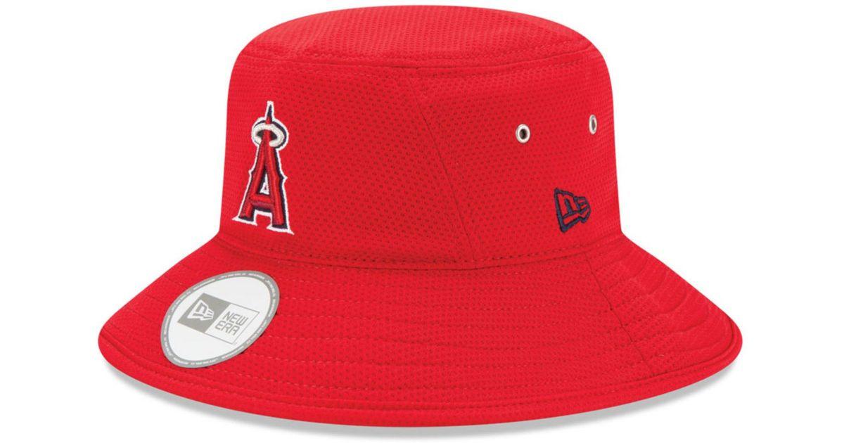 8437e750 ... hot lyst ktz los angeles angels of anaheim redux bucket hat in red  6eab1 cef93