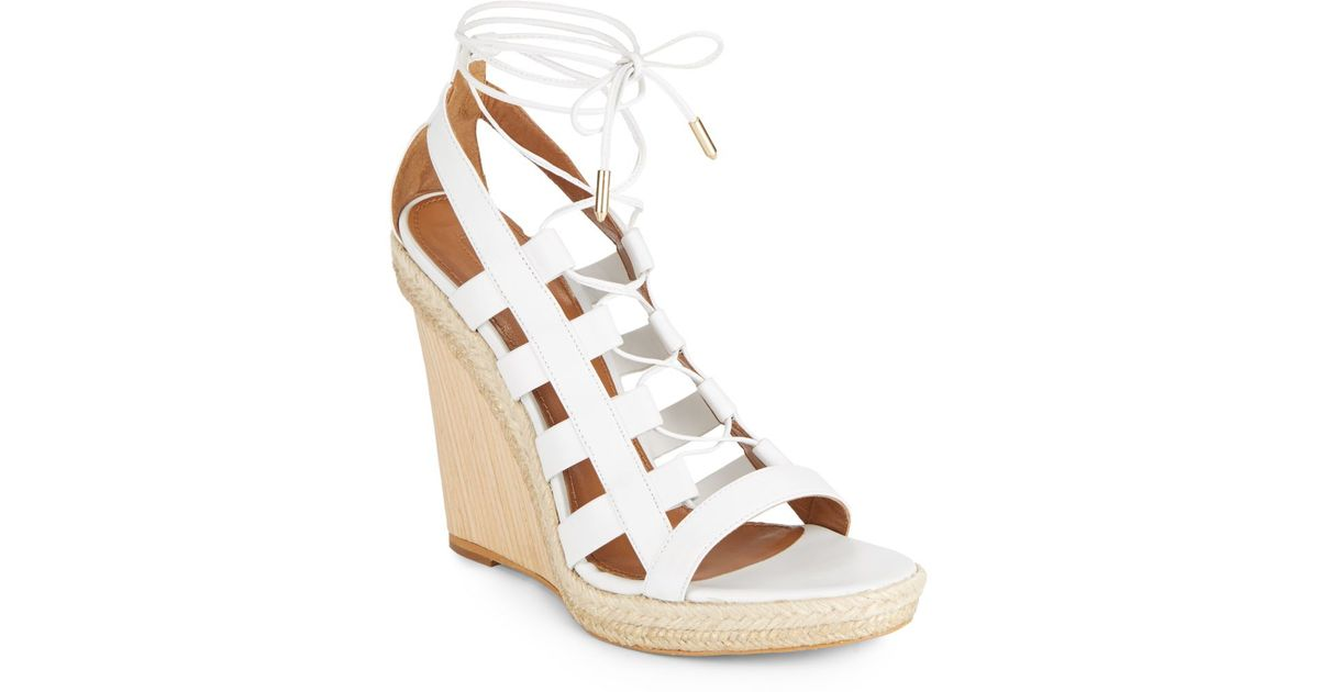 9a03a4c13a44 Lyst - Aquazzura Amazon Leather Espadrille Wedges in White