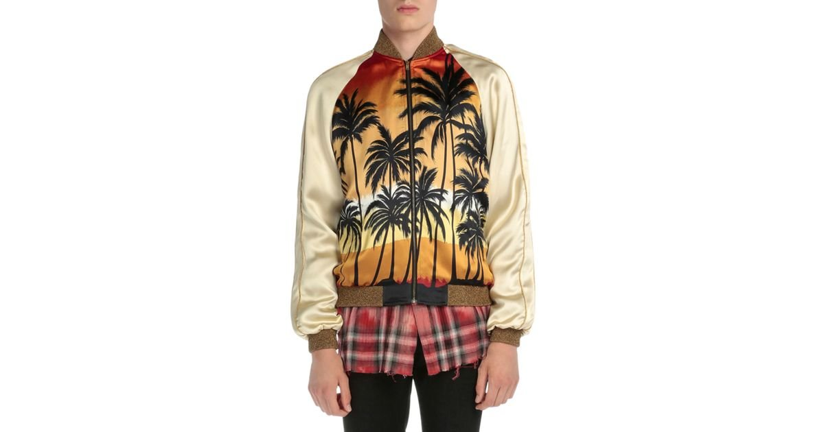 41f02aacd3e Saint Laurent Palm Tree-print Satin Bomber Jacket for Men - Lyst