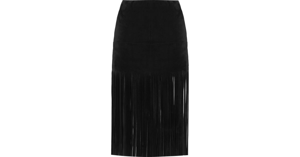 Valentino Fringed Suede Mini Skirt in Black | Lyst
