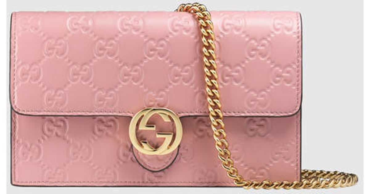 8270ee6ff72 Lyst - Gucci Gucci Icon Leather Gg Chain Wallet in Pink